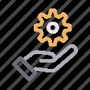 cogwheel, gear, hand, protection