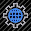 browser, cogwheel, engineering, gear, global