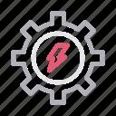 cogwheel, energy, gear, power, setting icon