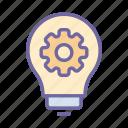 gear, bulb, idea, creative, innovation, solution