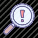 search, magnifier, error, problem, research
