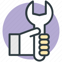 carpentry, engineer, foreman, human hand, wrench icon