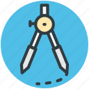 architect, circle, compass, geometrical compass, geometry tool icon