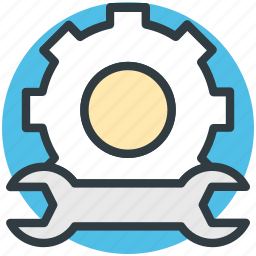 gear, repair, setting, work tools, wrench icon