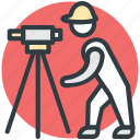 builder, construction engineer, engineer, surveyor engineer, theodolite tool icon