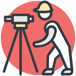 builder, construction engineer, engineer, surveyor engineer, theodolite tool icon