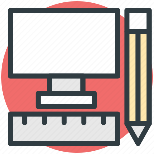 computer, infographic, online drafting, pencil, ruler icon