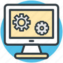 computer display, gears sign, programming, repair concept, website development icon