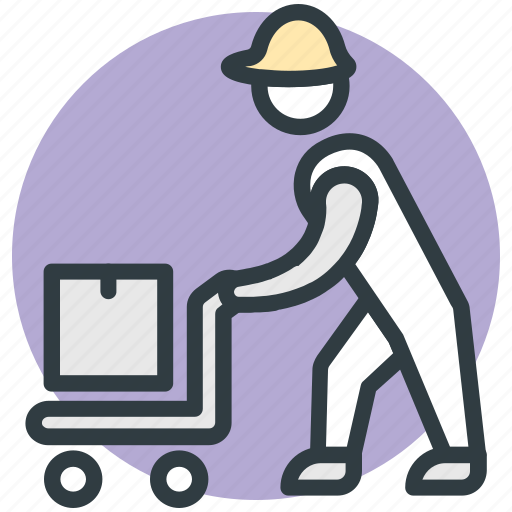 employee, hand truck, laborer, working, workman icon