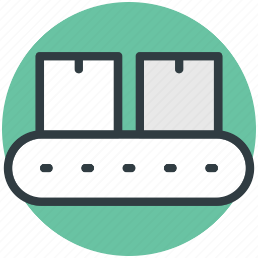 Conveyor belt, delivery box, logistic package, package sorting, shipping box icon - Download on Iconfinder