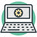 gear sign, laptop screen, programming, repair concept, website development icon