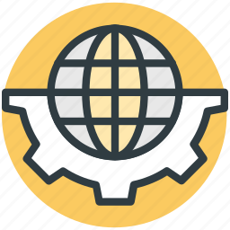 global technology, globalization, globe with gear, international development, worldwide development icon