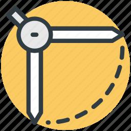 architect, circle, compass, geometrical compass, geometry tool icon