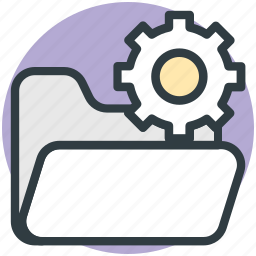 archive, computer engineering, development, folder with gear, software engineering icon