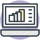 business, graph, laptop, online graph, online presentation icon