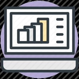 business, graph, laptop, online graph, online presentation icon