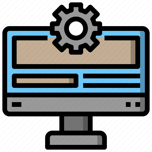 computer, gears, interface, mechanism, options, screen, setup icon