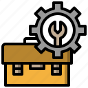 build, carpentry, toolbox, troubleshoot icon