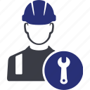 engineer, machine, male, repair, tool, worker, wrench icon