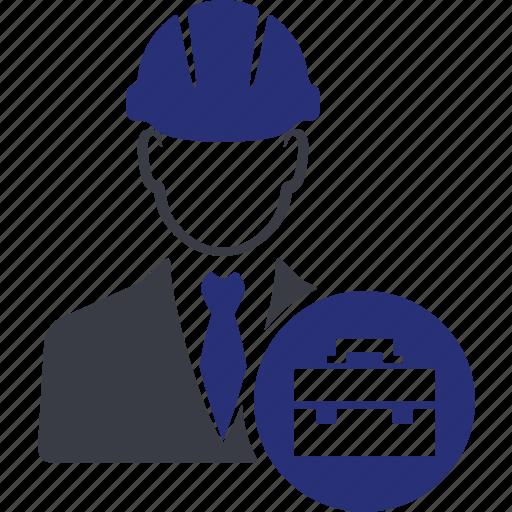 avatar, bag, business, engineer, repair, suitcase, worker icon