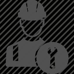 avatar, engineer, machine, repair, user, worker, wrench icon