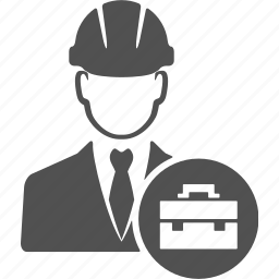 avatar, engineer, labor, person, suitcase, user, worker icon