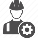 avatar, cog, gear, machine, options, setting, worker icon