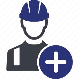 add, avatar, engineer, man, plus, user, worker icon