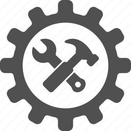 cog, engineering, gear, hammer, options, repair, wrench icon