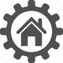 build, cog, gear, home, house, options, setting icon