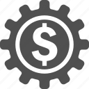 business, cog, coin, development, dollar, gear, money icon