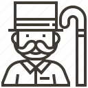 avatar, cane, hat, man, mustache icon