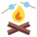 campfire, camping, fireworks, marshmallow, picnic