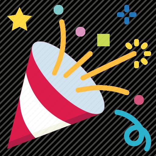 birthday, celebration, confetti, fun, party icon
