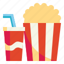 popcorn, fastfood, snack, cinema, softdrink icon