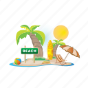 beach, day, sea, summer, sun, vacation icon