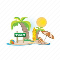 beach, day, sea, summer, sun, vacation icon