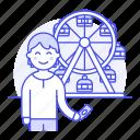 1, amusement, carnival, entertainment, fair, ferris, male, parks, ride, ticket, wheel icon