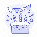 1, banner, birthday, cake, candle, celebration, entertainment, pennant, sweet icon
