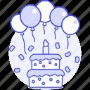 balloon, candle, cake, sweet, birthday, entertainment, celebration, confetti, tier