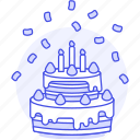 2, 3, birthday, cake, candle, celebration, confetti, entertainment, strawberry, tier, two icon