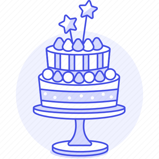 2, birthday, cake, celebration, entertainment, stand, star, strawberry, tier, two, wand icon