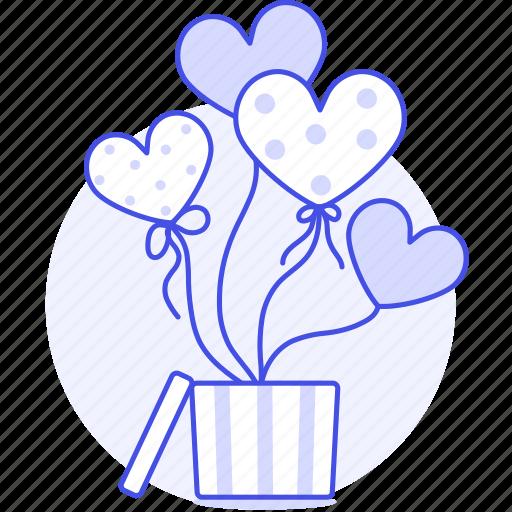1, balloon, balloons, box, celebration, day, decoration, entertainment, gift, heart, party, s, valentine icon