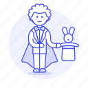 entertainment, magic, magician, male, performance, rabbit, show, trick, wizard icon
