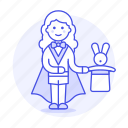 entertainment, female, magic, magician, performance, rabbit, show, trick, wizard icon
