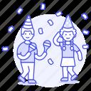 friends, confetti, maraca, couple, music, celebration, dance, dancing, party, entertainment