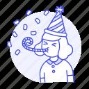 birthday, blower, carnival, celebration, confetti, entertainment, female, girl, hat, horn, party