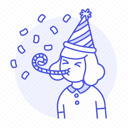 1, birthday, blower, carnival, celebration, confetti, entertainment, female, girl, hat, horn, party icon