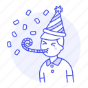 birthday, blower, carnival, celebration, confetti, entertainment, girl, hat, horn, male, party
