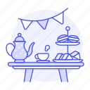 afternoon, coffee, cup, entertainment, french, macaron, party, sandwich, set, table, tea, teapot